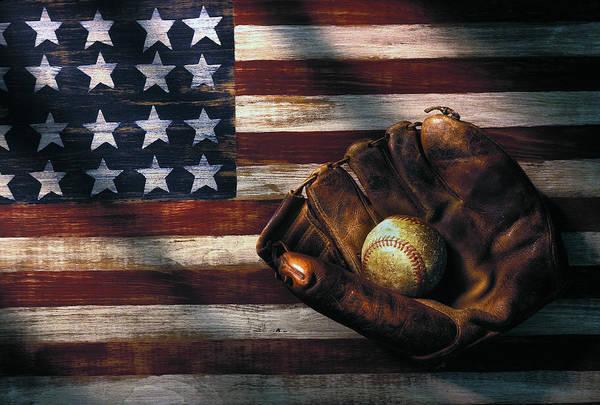 Folk Art American Flag And Baseball Mitt Poster