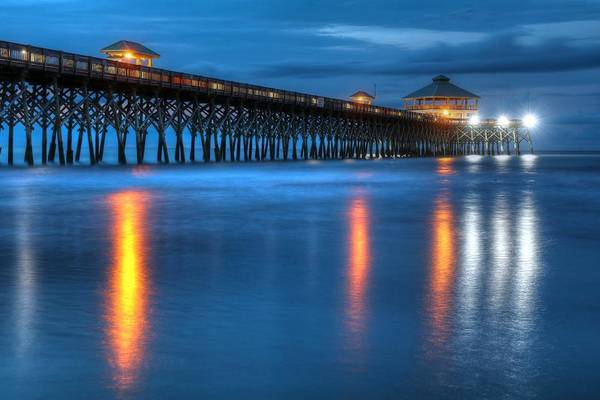 Folly Beach Pier At Blue Hour Charleston South Carolina Poster
