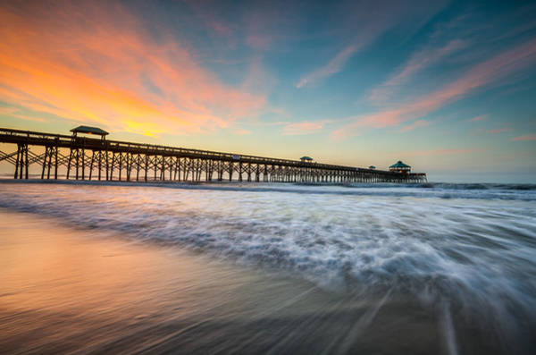 Folly Beach Pier At Dawn - Charleston Sc Poster