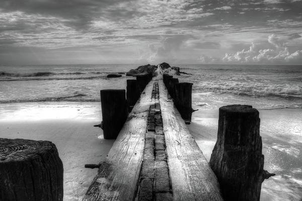 Folly Beach Pilings Charleston South Carolina In Black And White  Poster