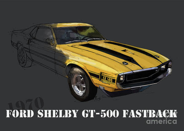Ford Shelby Gt500 Fastback, Yellow And Black Original Art Print Poster