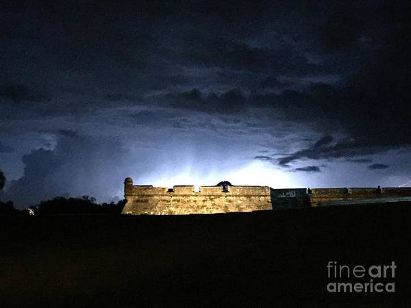Lightening At Castillo De San Marco Poster