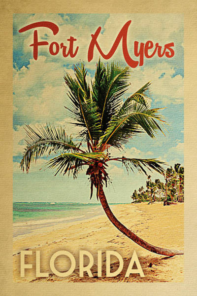 Fort Myers Florida Palm Tree Poster