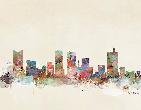 Fort Worth City Skyline Poster