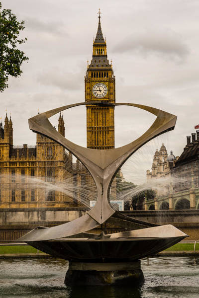 Fountain With Big Ben Poster