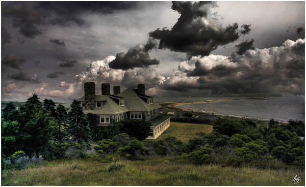 Four Chimneys In A Cuttyhunk Storm Poster