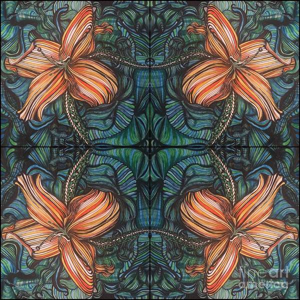 Four Lilies Leaf To Leaf Poster