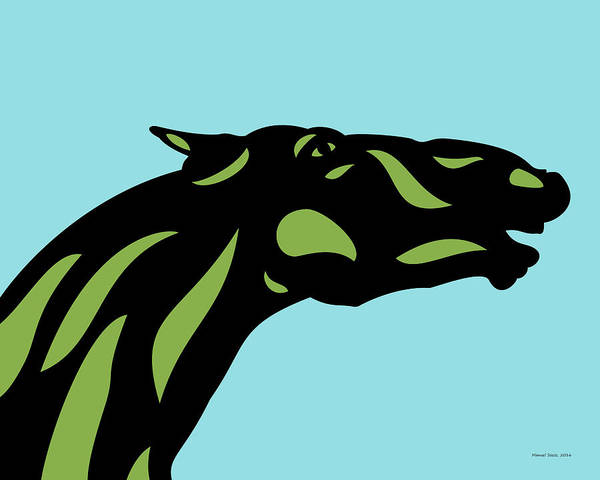 Poster featuring the digital art Fred - Pop Art Horse - Black, Greenery, Island Paradise Blue by Manuel Sueess