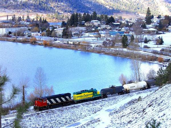 Freight Train At Oyama Poster