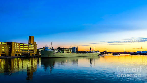 Freighter Alpena On The Fox River Channel In Green Bay Poster