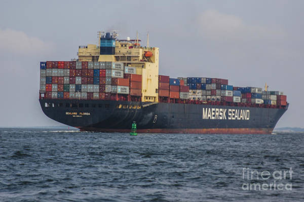 Freighter Headed Out To Sea Poster
