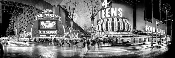 Fremont Street Experience Bw Poster