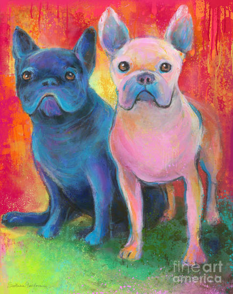 French Bulldog Dogs White And Black Painting Poster