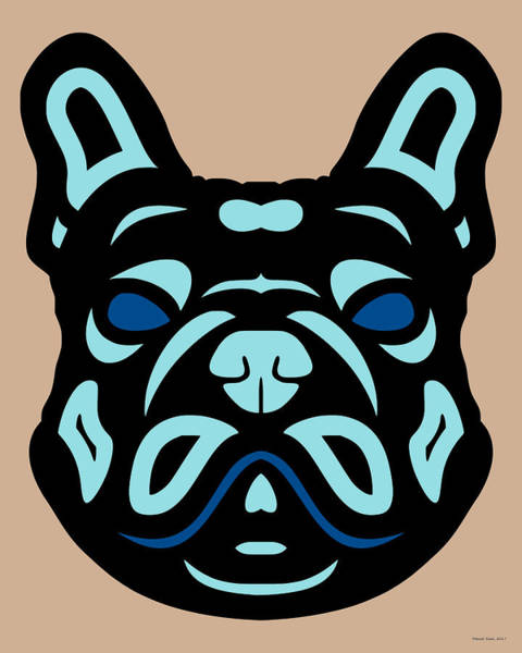 Poster featuring the digital art French Bulldog Francis - Dog Design - Hazelnut, Island Paradise, Lapis Blue by Manuel Sueess
