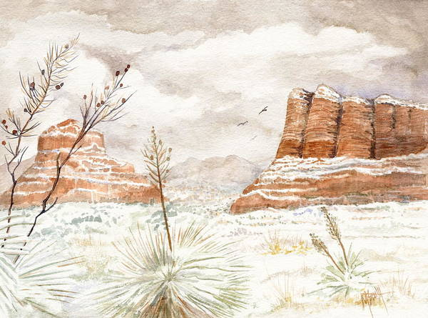Fresh Snow On Bell Rock Poster
