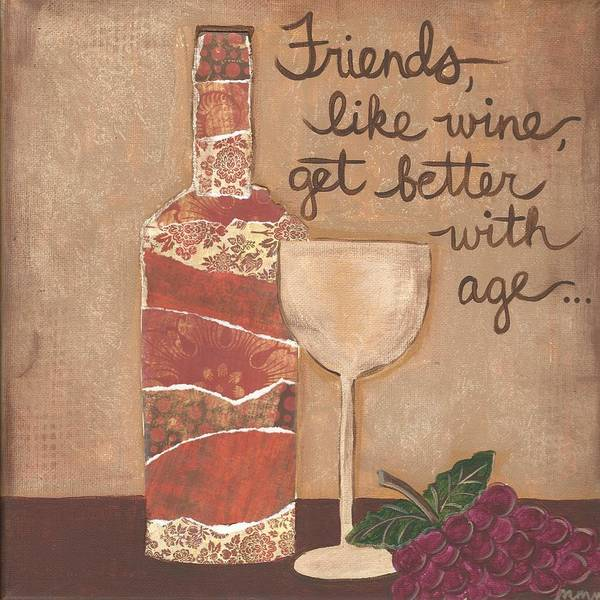 Friends And Wine Poster
