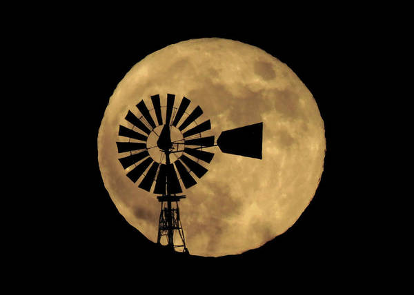 Full Moon Behind Windmill Poster