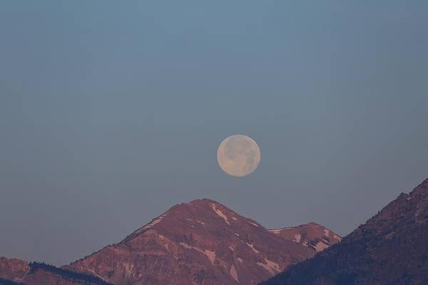 Full Moon Over The Tetons Poster