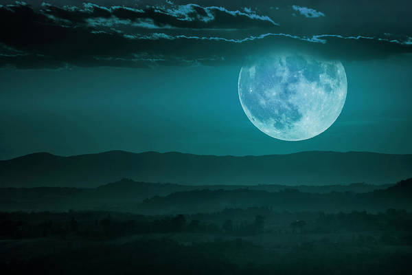 Full Moon Over Tuscany Poster