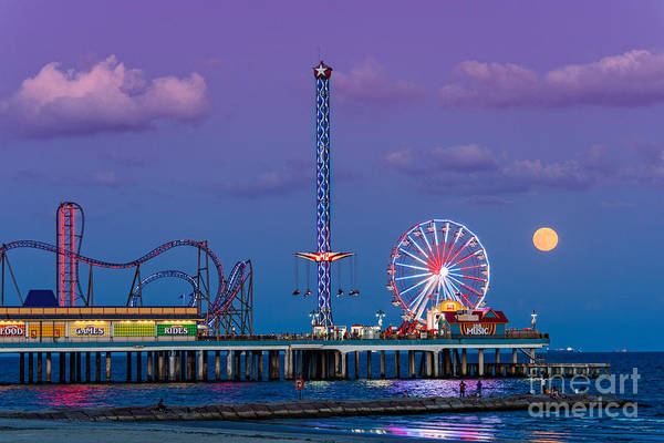 Full Moon Rising And Historic Pleasure Pier In Galveston Island - Texas Gulf Coast Poster