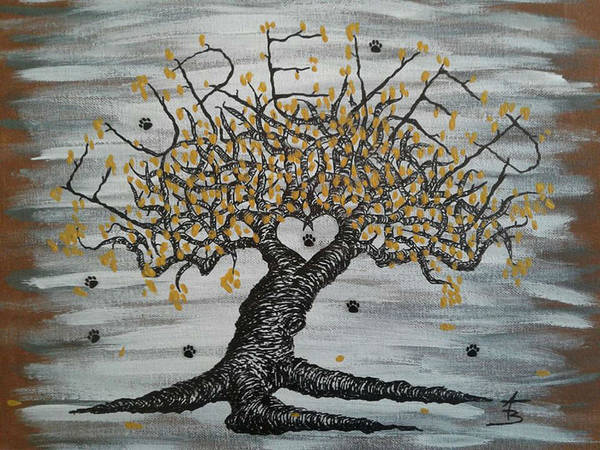 Poster featuring the drawing Furever Love Tree W/ Paws by Aaron Bombalicki