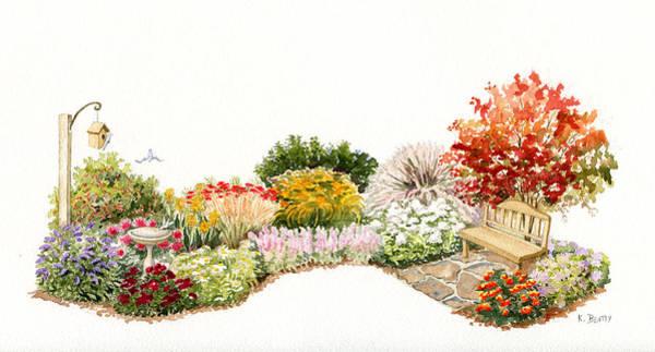 Garden Wild Flowers Watercolor Poster