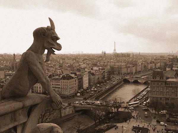 Gargoyle Looking Over Paris Poster