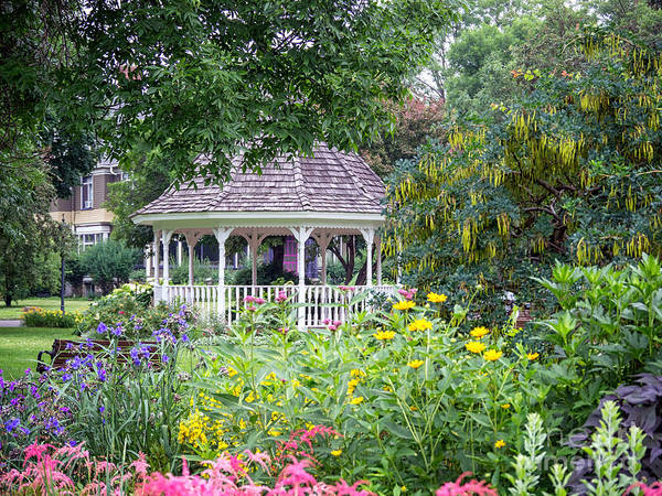 Gazebo With Summer Blooms Poster