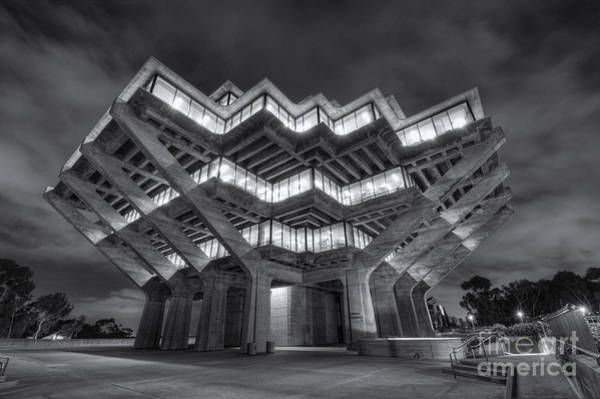 Geisel Library In Black And White Poster