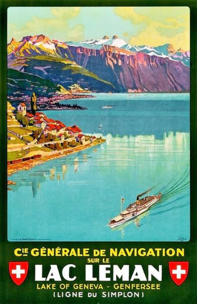 Geneva Lake, Switzerland, Vintage Travel Poster Poster