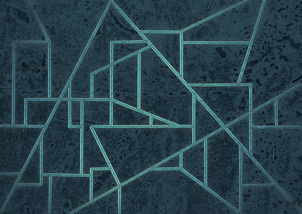 Geometric Abstraction In Blue Poster
