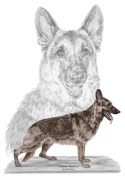 German Shepherd Art Print - Color Tinted Poster