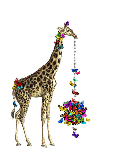Giraffe With Colorful Rainbow Butterflies Poster