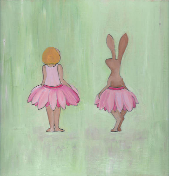 Poster featuring the painting Girl And Bunny In Pink Tutus by Caroline Sainis