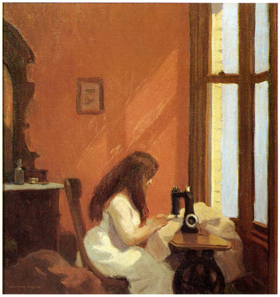 Girl At Sewing Machine Poster