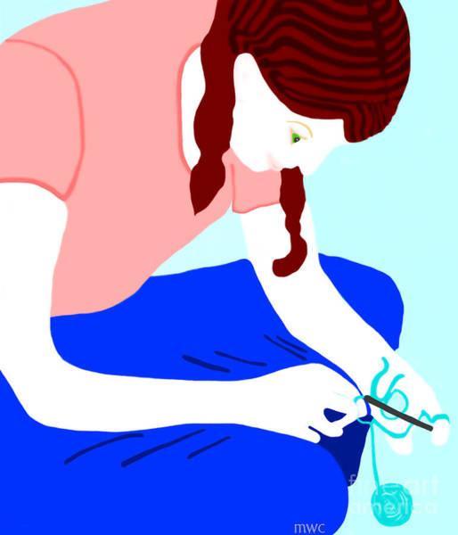 Girl Crocheting Poster