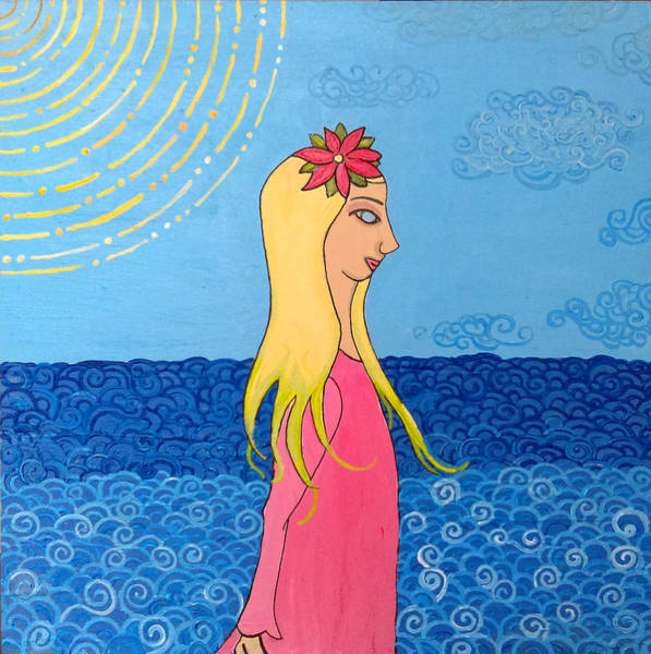 Poster featuring the painting Girl In The Water by Caroline Sainis