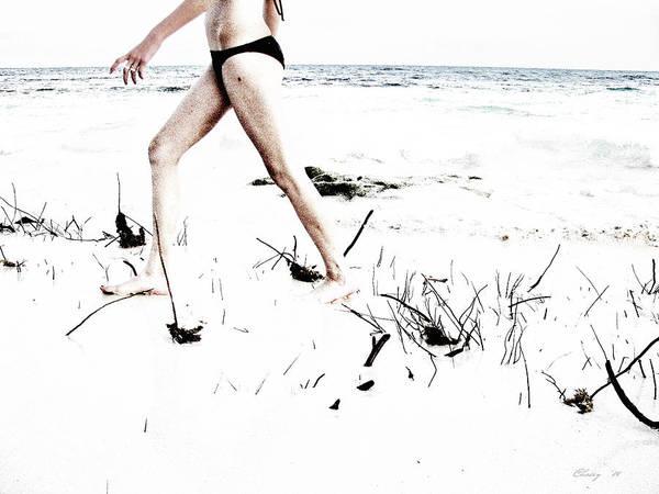 Girl Walking On Beach Poster