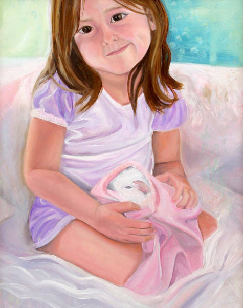 Girl With Guinea Pig Poster