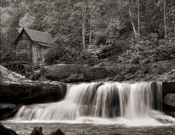 Glade Creek Grist Mill Monochrome Poster