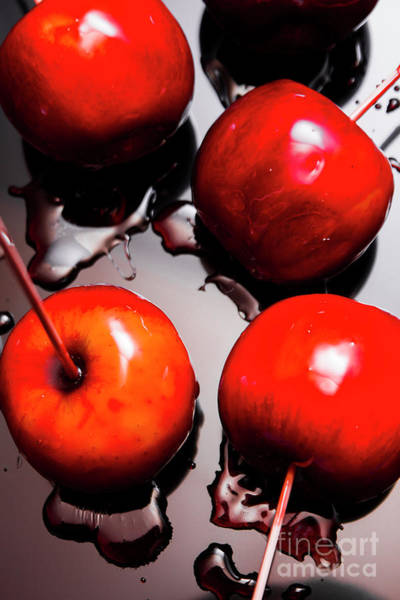 Gleaming Red Candy Apples Poster