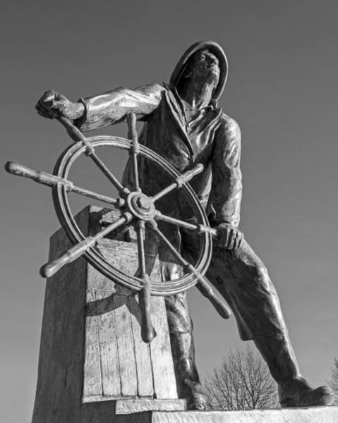 Gloucester Fisherman's Memorial Statue Black And White Poster