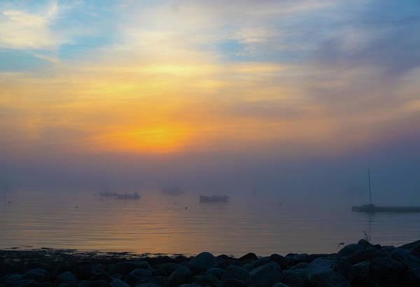 Gloucester Harbor Foggy Sunset Poster