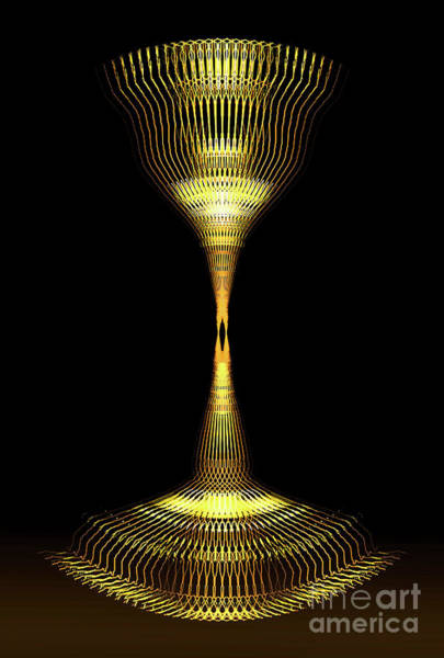 Glowing Brass Lamp Stand Poster