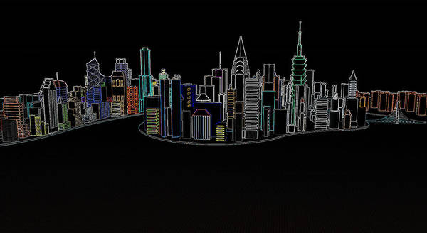 Glowing City Poster