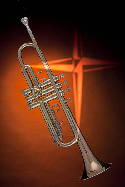 Gold Trumpet With Cross On Orange Poster