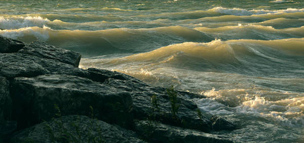 Golden Capped Sunset Waves Of Lake Michigan Poster