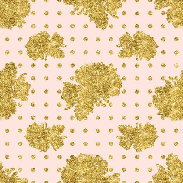 Golden Gold Blush Pink Floral Rose Cluster W Dot Bedding Home Decor Poster