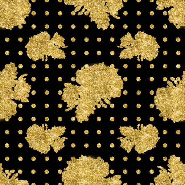 Golden Gold Floral Rose Cluster W Dot Bedding Home Decor Art Poster