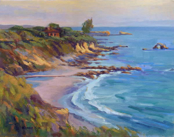 Poster featuring the painting Golden Hour At Corona Del Mar by Konnie Kim